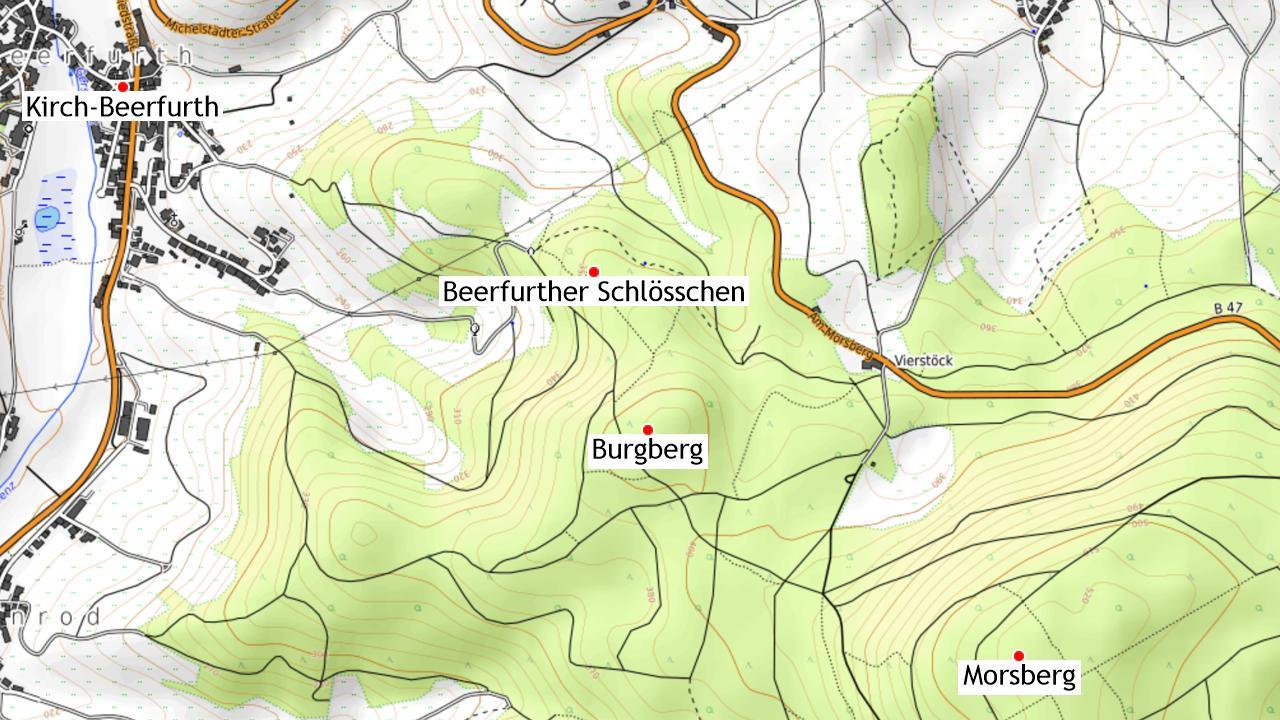 Das Beerfurther Schlösschen und Umgebung.